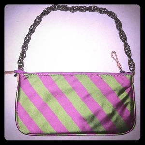 J. crew PREPPY Pink & Green Silk Purse Chain Strap